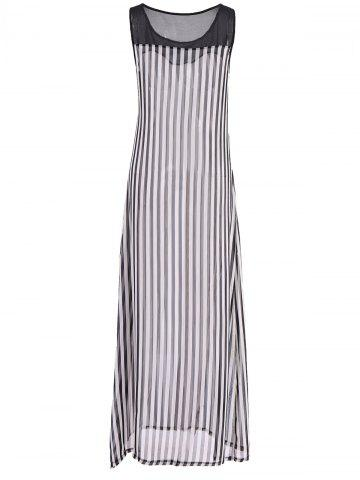 Unique Stylish Scoop Neck Sleeveless Striped Voile Splicing Long Dress For Women - M AS THE PICTURE Mobile
