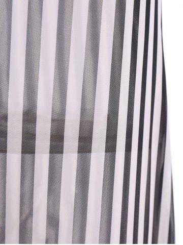 Fancy Stylish Scoop Neck Sleeveless Striped Voile Splicing Long Dress For Women - XL AS THE PICTURE Mobile