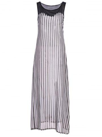 Fashion Stylish Scoop Neck Sleeveless Striped Voile Splicing Long Dress For Women - XL AS THE PICTURE Mobile