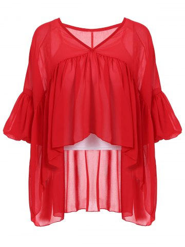 Buy Stylish V-Neck Lantern Sleeve Flounced Women's Blouse + Tank Top