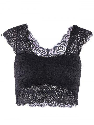 Hot Fashionable Sweetheart Neck Solid Color Lace Tank Top For Women BLACK ONE SIZE(FIT SIZE XS TO M)