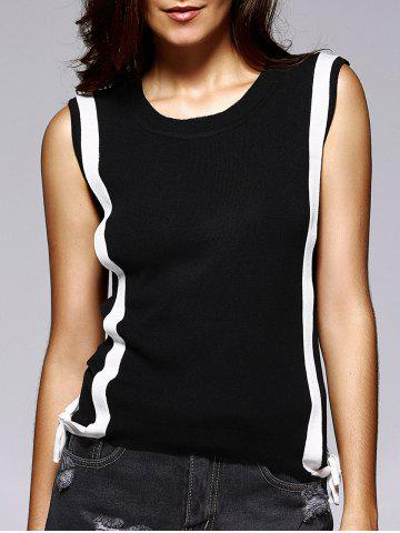 Affordable Trendy Round Collar Sleeveless Color Block Criss-Cross Women's Knitwear