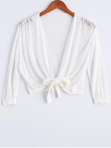 Best Tie Front Cropped Collarless Cardigan