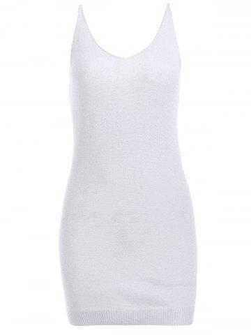 Fancy Simple Deep V Neck Pure Color Knitted Bodycon Dress