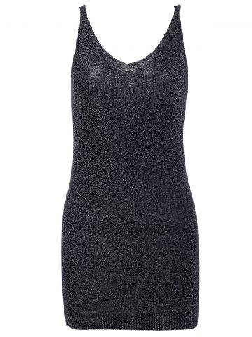 Trendy Simple Deep V Neck Pure Color Knitted Bodycon Dress