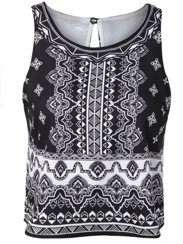Outfits Stylish Round Neck Sleeveless Printing Tank Top For Women