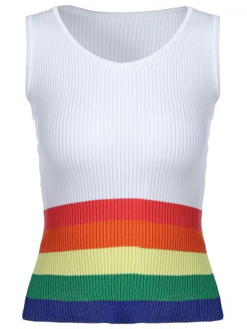 Store Fashionable  Scoop Neck Rainbow Tank Top For Women