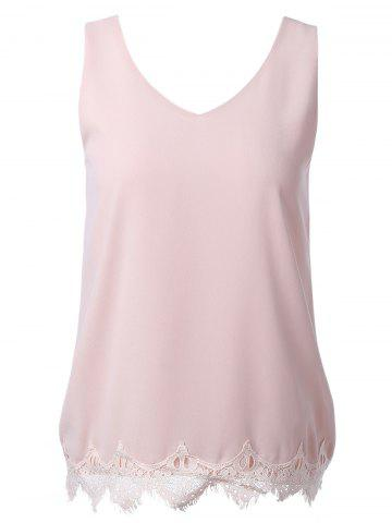 Outfit Slimming Lace Splice V-Neck Tank Top For Women