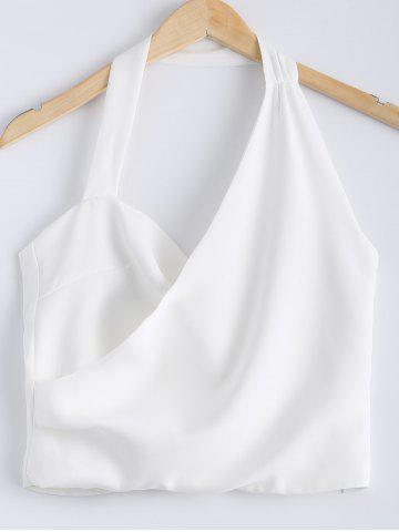 Affordable Stylish Solid Color Halter Neck Backless Button Crop Top For Women