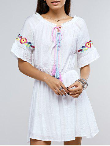 Buy Bohemian Women's Jewel Neck Embroidered A-Line Dress