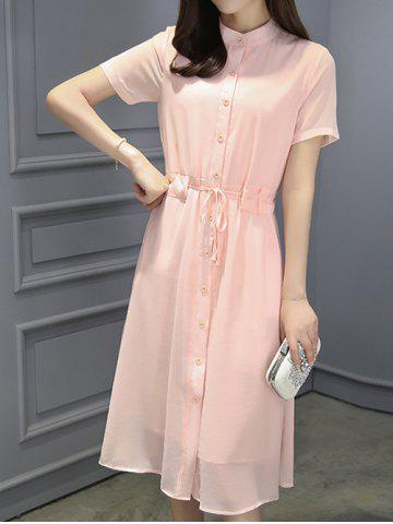 Fashion Stylish Women's Stand Collar Drawstring Chiffon Dress