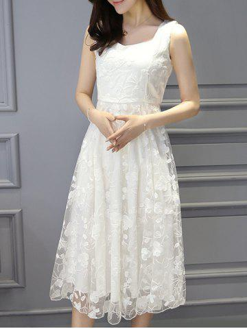 Sale Stylish Women's Sleeveless A-Line Lace Dress