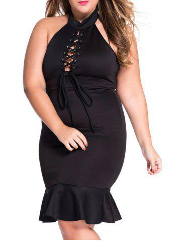 Plus Size Lace Up Mermaid Prom Dress - Black - Xl