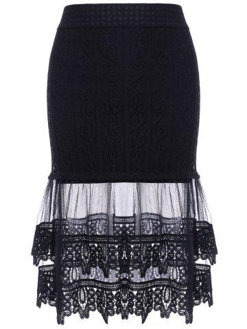 New Stylish Women's See-Through Lace Tiered Skirt