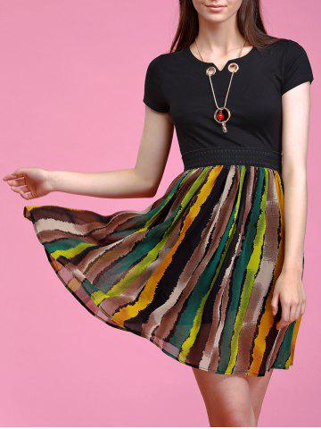 New Trendy Necklace Decorated Short Sleeve Stripe Spliced Dress For Women