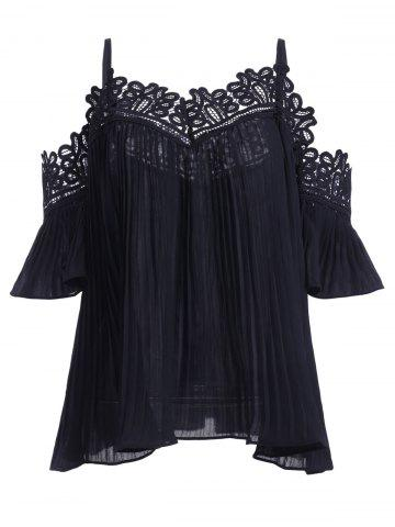 Unique Loose-Fitting Ruffles Openwork Spaghetti Strap Blouse For Women