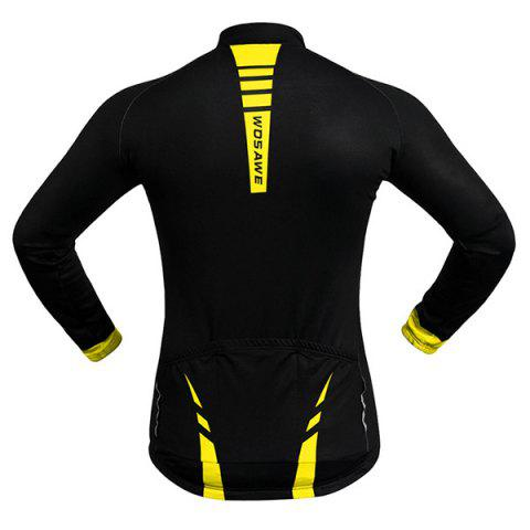 Cheap Fashionable Long Sleeve Warmth Thermal Fleece Cycling Jacket For Unisex - S YELLOW AND BLACK Mobile