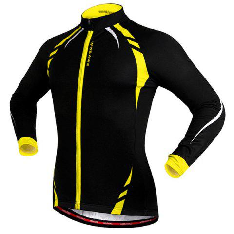Fashion Fashionable Long Sleeve Warmth Thermal Fleece Cycling Jacket For Unisex - S YELLOW AND BLACK Mobile