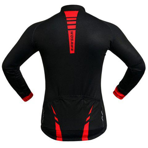 Trendy Fashionable Long Sleeve Warmth Thermal Fleece Cycling Jacket For Unisex - L RED WITH BLACK Mobile