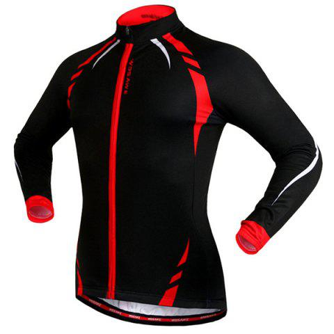Chic Fashionable Long Sleeve Warmth Thermal Fleece Cycling Jacket For Unisex - L RED WITH BLACK Mobile