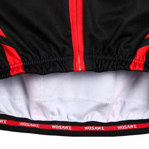 Fashion Fashionable Long Sleeve Warmth Thermal Fleece Cycling Jacket For Unisex - L RED WITH BLACK Mobile