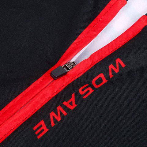 Unique Fashionable Long Sleeve Warmth Thermal Fleece Cycling Jacket For Unisex - L RED WITH BLACK Mobile