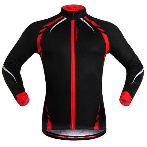 Fashionable Long Sleeve Warmth Thermal Fleece Cycling Jacket For Unisex - Red With Black - M