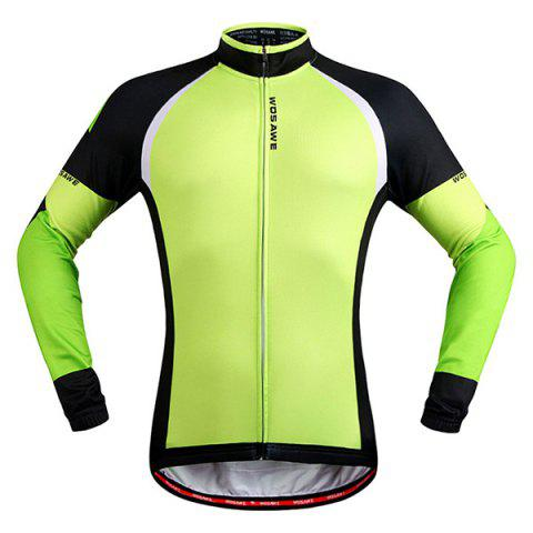Unique Stylish Windproof Long Sleeve Thermal Fleece Cycling Jacket For Unisex - XL BLACK AND GREEN Mobile