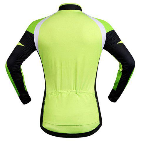 Fancy Stylish Windproof Long Sleeve Thermal Fleece Cycling Jacket For Unisex - M BLACK AND GREEN Mobile