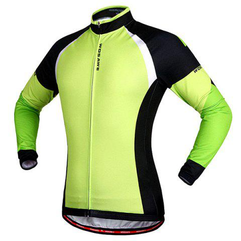 Affordable Stylish Windproof Long Sleeve Thermal Fleece Cycling Jacket For Unisex - M BLACK AND GREEN Mobile