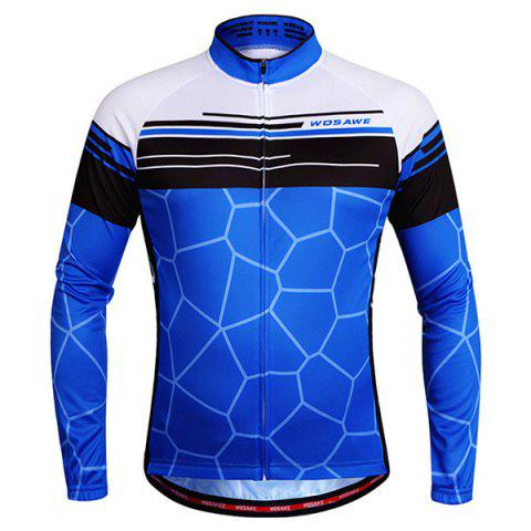 Simple Irregular Pattern Quick Dry Cycling Long Sleeve Jersey For Unisex - Blue - L