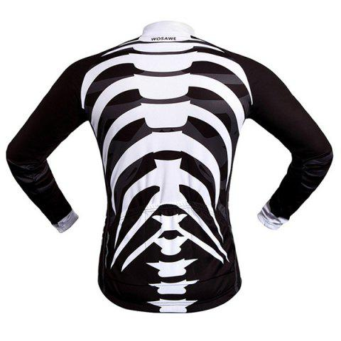 Discount Stylish Skeleton Pattern Breathable Quick Dry Cycling Long Sleeve Jersey For Unisex - XL WHITE AND BLACK Mobile