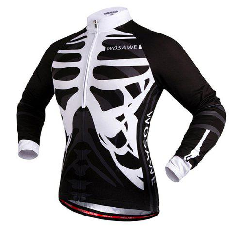 Discount Stylish Skeleton Pattern Breathable Quick Dry Cycling Long Sleeve Jersey For Unisex - L WHITE AND BLACK Mobile