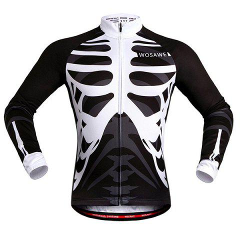 Stylish Skeleton Pattern Breathable Quick Dry Cycling Long Sleeve Jersey For Unisex - White And Black - M
