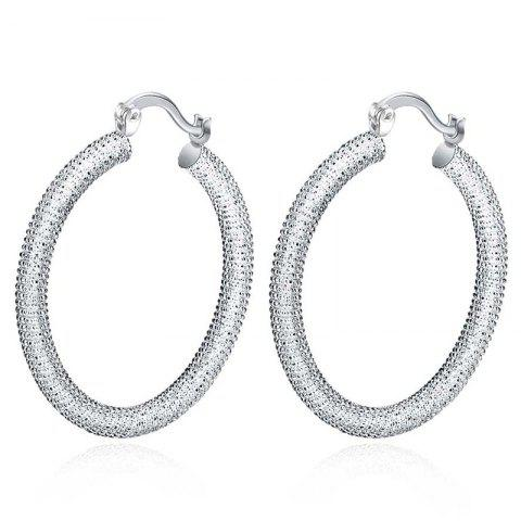 Pair of Gorgeous Embellished Circle Hoop Earrings For Women - SILVER