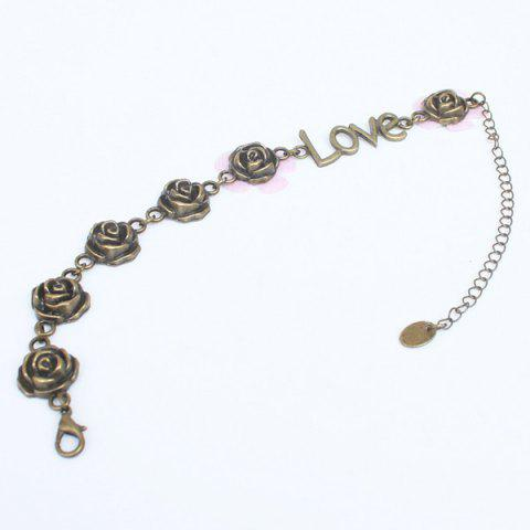 Discount Vintage Rose Love Shape Flower Traditional Anklets