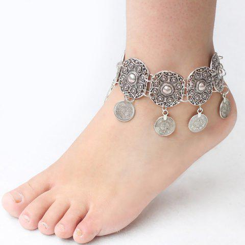 Fancy Vintage Engraved Floral Pattern Anklet For Women