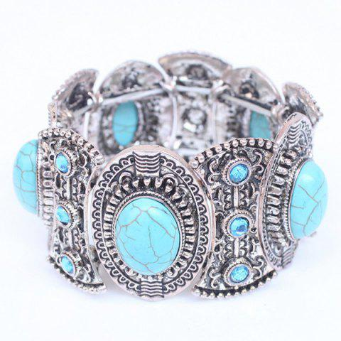 Fashion Faux Turquoise Carved Alloy Bracelet - SILVER  Mobile