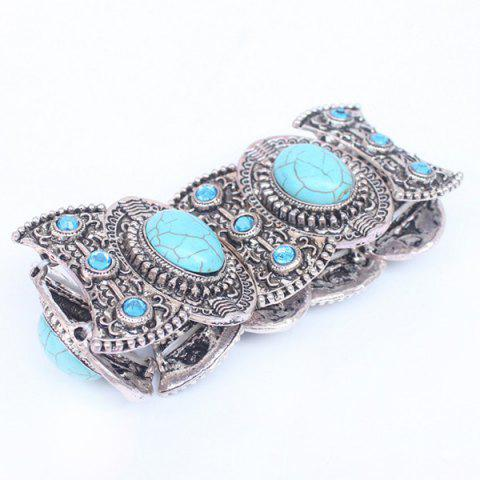Cheap Faux Turquoise Carved Alloy Bracelet - SILVER  Mobile