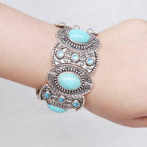 Hot Faux Turquoise Carved Alloy Bracelet - SILVER  Mobile
