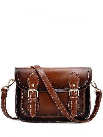 Buy Vintage Double Buckles and Stitching Design Crossbody Bag For Women