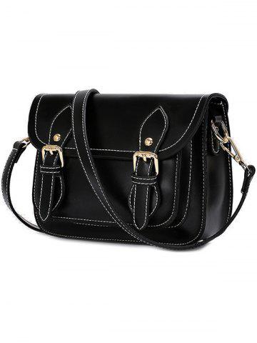 Shops Vintage Double Buckles and Stitching Design Crossbody Bag For Women - BLACK  Mobile