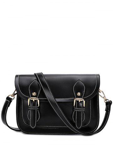 Best Vintage Double Buckles and Stitching Design Crossbody Bag For Women - BLACK  Mobile