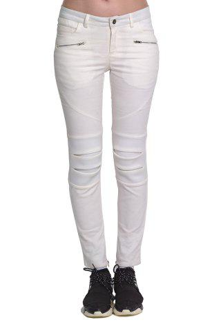 Outfit White Zipper Embellished Slimming Pants