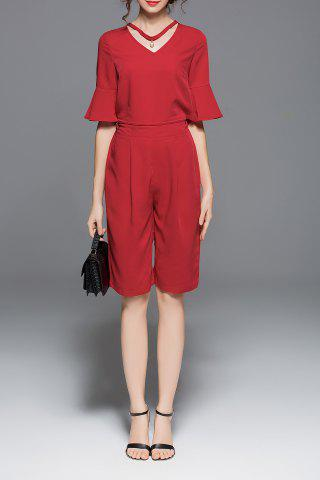 Shop V Neck Flare Sleeve Blouse and Knee Length Pants Suits