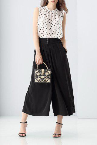 Latest Polka Dot Tank Top and Black Wide Leg Pants Suit