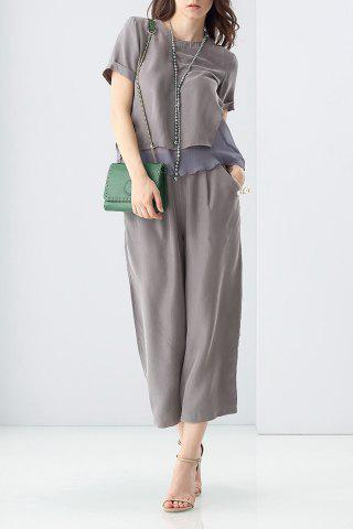 Chic Layered Color Block T-Shirt and High Waist Pants Suit