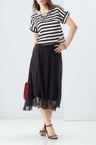 Latest Loose Striped T-Shirt and High Waist Silk Pants Twinset