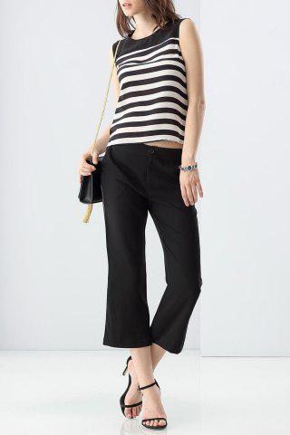 Shops Striped Tank Top and Balck Wide Leg Pants Twinset