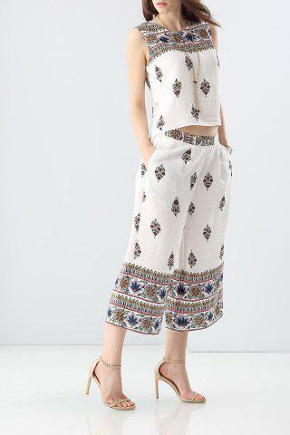 Buy Ethnic Style Printed Tank Top and Wide Leg Pants Suit